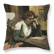 Young Girl Reading Throw Pillow
