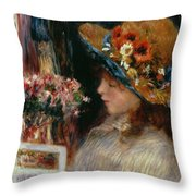 Young Girl Reading Throw Pillow by Pierre Auguste Renoir