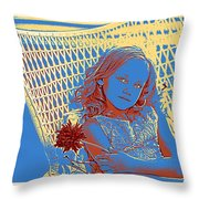 Young Girl With Blue Eyes Throw Pillow