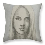 Young Girl With Long Hair Throw Pillow