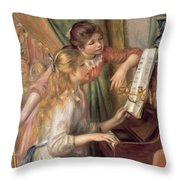 Young Girls At The Piano Throw Pillow