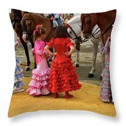 Young Girls In Flamenco Dresses Looking At Horses At The April F Throw Pillow