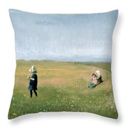 Young Girls Picking Flowers In A Meadow Throw Pillow