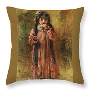 Young Gypsy By Konstantin Makovsky Throw Pillow