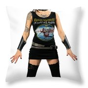 Young Heavy Metal Female Punk Fan Standing Tall With Horns Pierc Throw Pillow