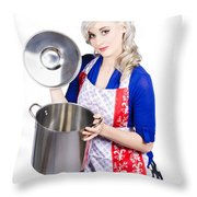 Young Housewife Lifting Lid On A Home Cooking Pot Throw Pillow