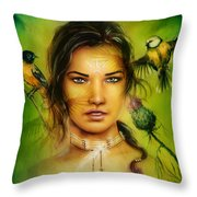 Young Indian Woman Wearing A Big Feather Headdress A Profile Portrait On Structured Abstract Backgr Throw Pillow