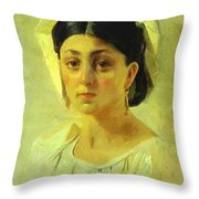 Young Italian Woman In A Folk Costume Study Throw Pillow