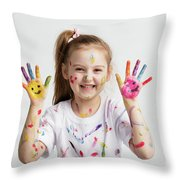 Young Kid Showing Her Colorful Hands Throw Pillow