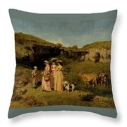 Young Ladies Of The Village By Gustave Courbet, 1851-1852 Throw Pillow
