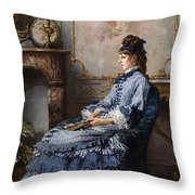 Young Lady At The Fireplace Throw Pillow