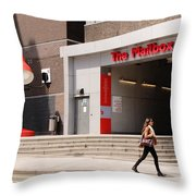 Young Lady In A Hurry Throw Pillow