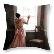 Young Lady In Pink Gown Looking Out Window Throw Pillow