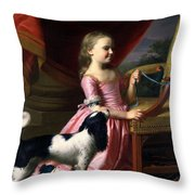 Young Lady With A Bird And A Dog Throw Pillow