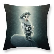 Young Lunar Pierrette Throw Pillow