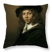 Young Man In A Black Beret Throw Pillow