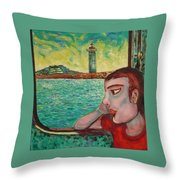 Young Man In A Window Throw Pillow