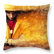 Young Man In Hooded Sweatshirt On Grunge Wall Throw Pillow