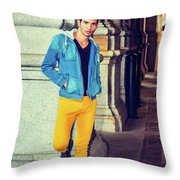 Young Man Standing On Street, Relaxing Outside Throw Pillow