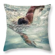 Young Man Swimming Throw Pillow