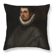 Young Man With A Bouquet Throw Pillow