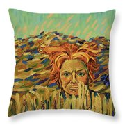 Young Man With A Corn Flower Throw Pillow