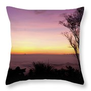 Young Men Silhouette Taking Photos About Landscape Outdoor  Throw Pillow
