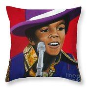 Young Michael Jackson Singing Throw Pillow