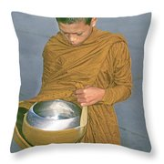 Young Monk Begging Alms And Rice, Thailand Throw Pillow