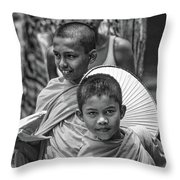 Young Monks 2 Bw Throw Pillow