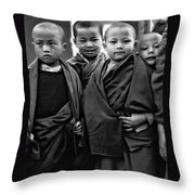 Young Monks II Bw Throw Pillow