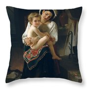 Young Mother Gazing At Her Child Throw Pillow