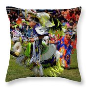 Young Native Indian  Boys Dancing In Tiny Tots Competition At A  Throw Pillow