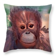 Young Orangutan Throw Pillow