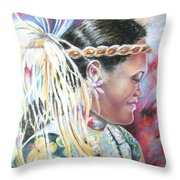 Young Polynesian Mama Throw Pillow