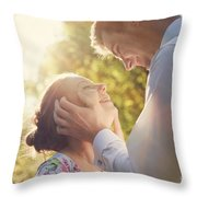 Young Romantic Couple Flirting In Sunshine Throw Pillow