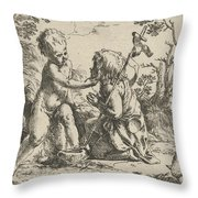 Young Saint John The Baptist Kneeling Before The Infant Christ Throw Pillow