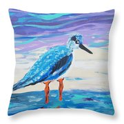 Young Seagull Coastal Abstract Throw Pillow
