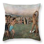 Young Spartans Exercising Throw Pillow by Edgar Degas