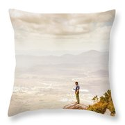 Young Traveler Looking At Mountain Landscape Throw Pillow