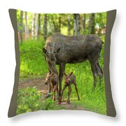 Young Twins Throw Pillow