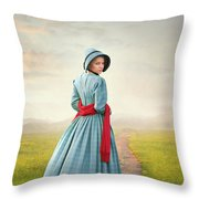 Young Victorian Woman On A Country Path Throw Pillow