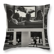Young Woman And Outdoor Television Display Throw Pillow