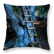 Young Woman Climbing A Tree Throw Pillow