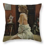Young Woman Dressed In Male Shirt Throw Pillow