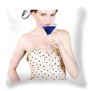Young Woman Drinking Alcoholic Beverage Throw Pillow