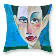Young Woman Green Field Throw Pillow