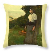 Young Woman In A Garden Of Oranges Throw Pillow