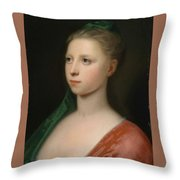 Young Woman In A Red Fur Trimmed Coat Throw Pillow
