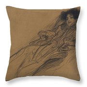 Young Woman In An Armchair Throw Pillow